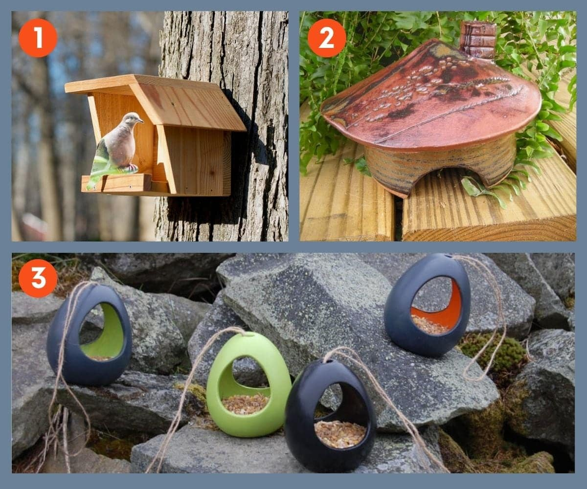 Collage of three garden gift ideas for birds and pollinators including bird houses and bird feeders.