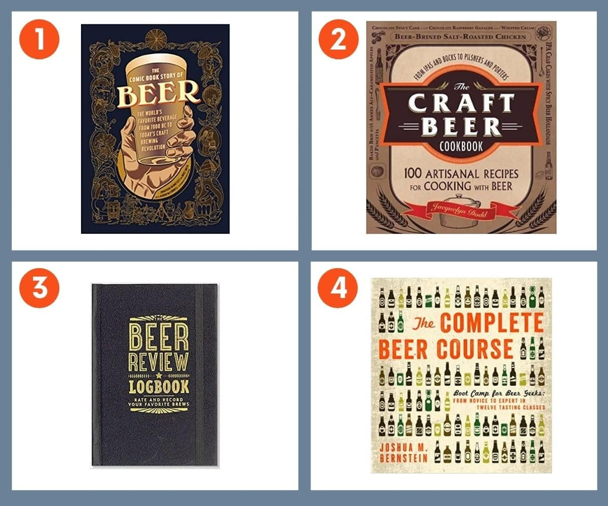 Collage of four books for beer lovers including The Craft Beer Cookbook by Jacquelyn Dodd and The Complete Beer Course by Joshua M. Bernstein.