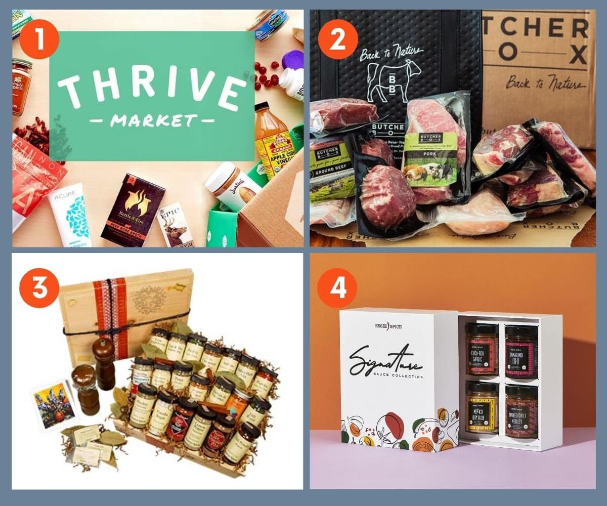 Collage of four gift boxes and memberships for foodies including Thrive Market and Essie Spice Signature Sauce Collection.
