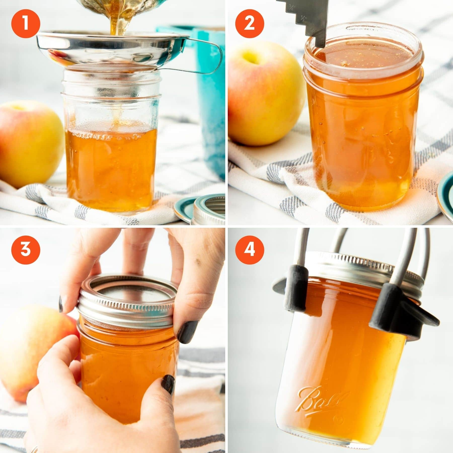 A collage showing four steps to canning.