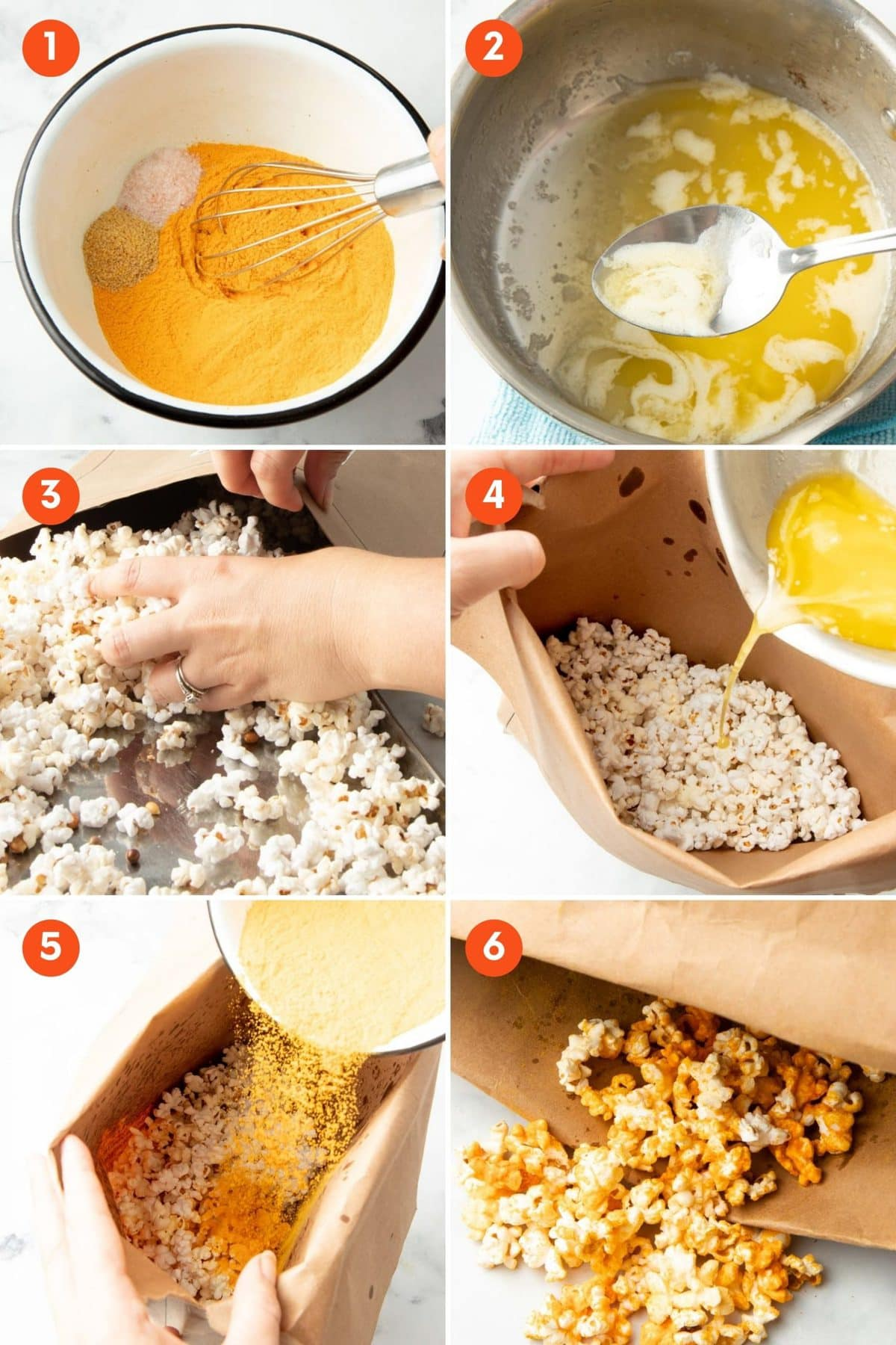 Collage of six steps to make cheddar popcorn.