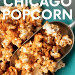 "Scooping a single serving of chicago popcorn into a bowl. A text overlay reads, ""Homemade Chicago Popcorn."""