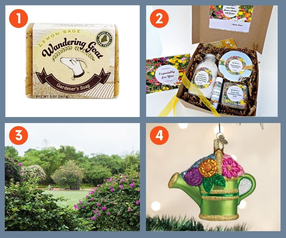 Collage of four unique gifts for gardeners including Wandering Goat Gardener's Soap and a Christmas ornament.