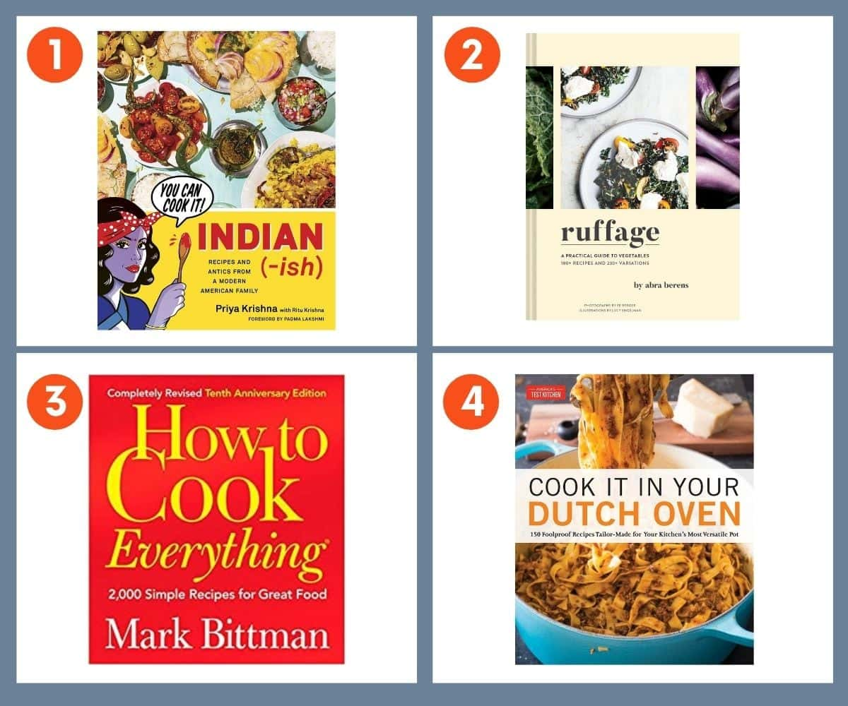 Collage of four cookbooks for gifting including Indian(-ish) by Priya Krishna and Ruffage by Abra Berens.
