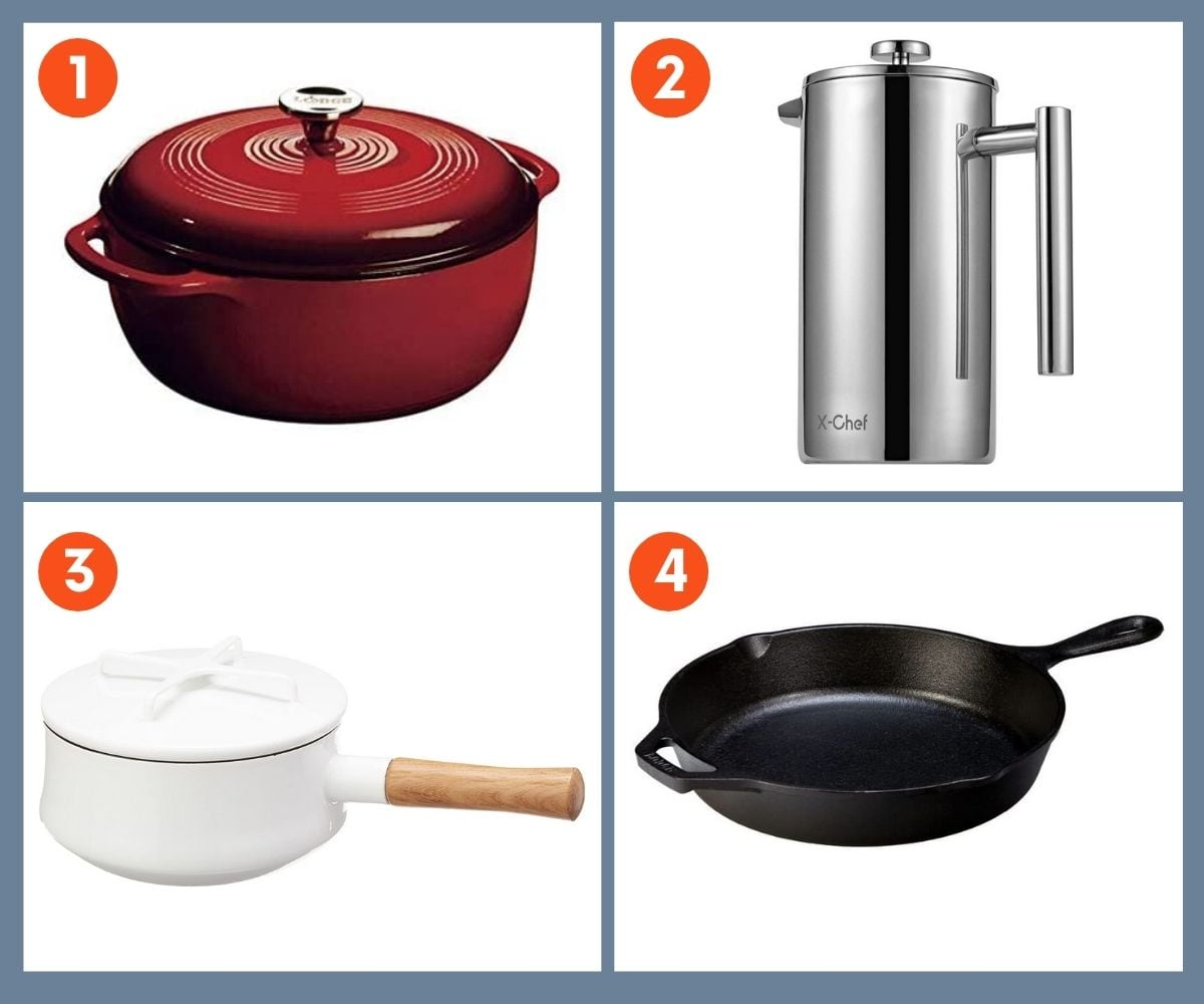 Collage of four cookware gifts including an enameled cast iron dutch oven and a cast iron skillet.