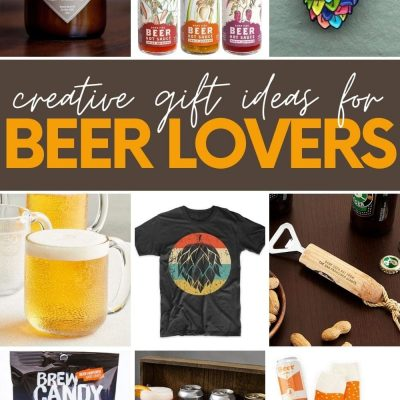 """Collage of nine gift ideas for beer lovers. A text overlay reads, """"Creative Gift Ideas for Beer Lovers."""""""