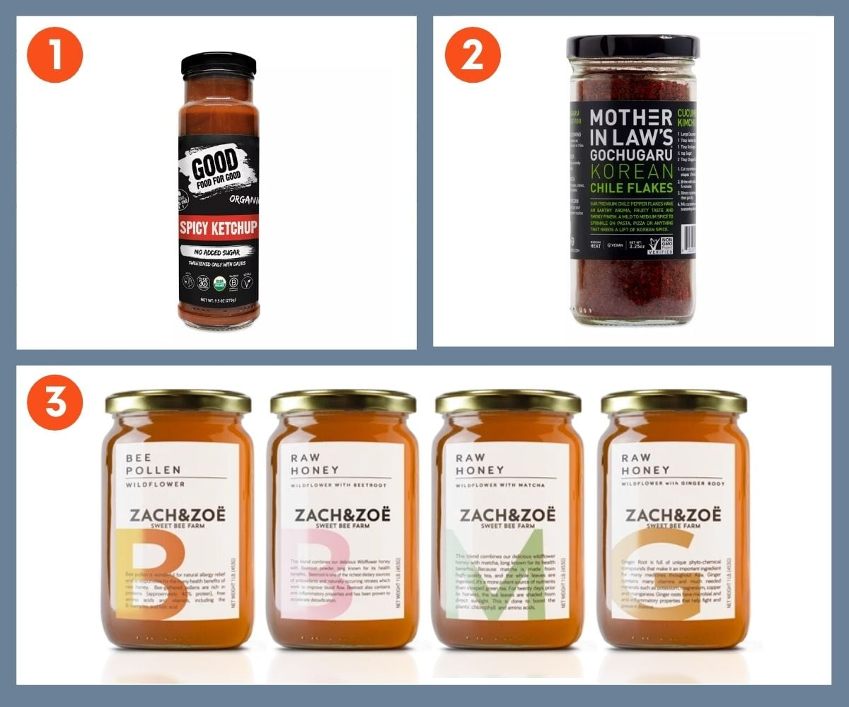 Collage of three stocking stuffer ideas including Mother in Law's Gochugaru and Zach & Zoe Raw Honey.