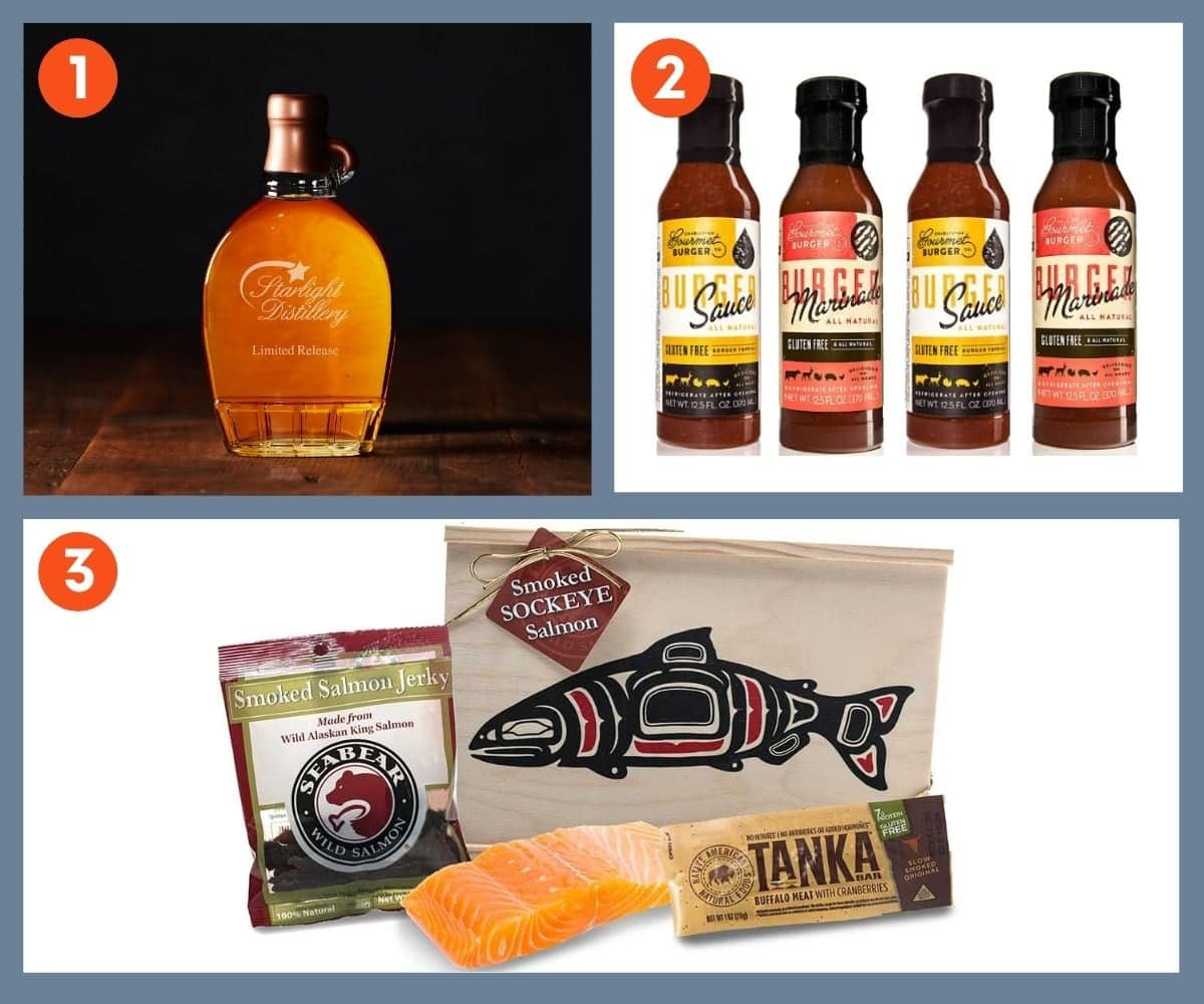Collage of three food and drink gift ideas including Starlight Distillery Limited Release Bourbon.