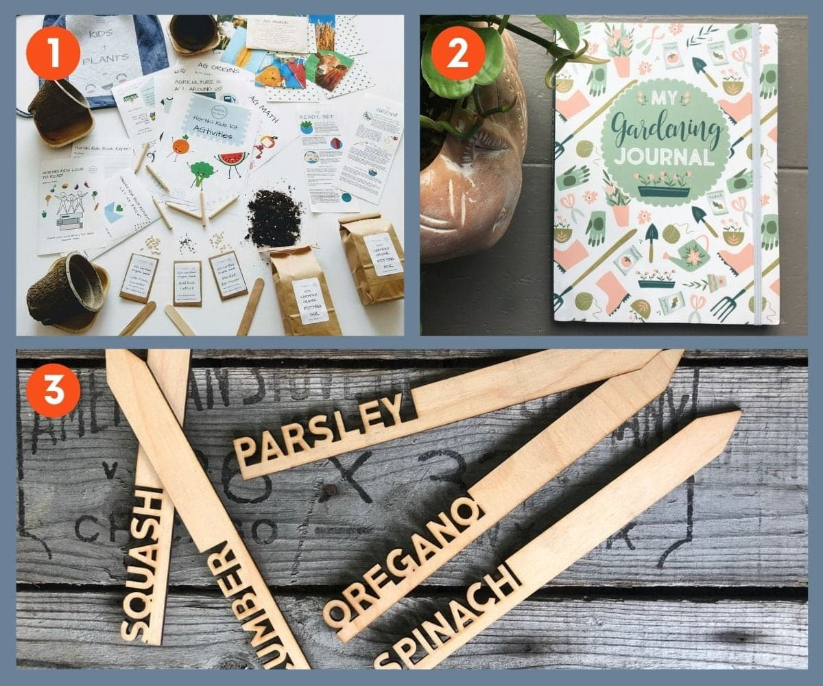 Collage of three fun gift ideas for gardeners including a gardening journal and decorative garden markers.