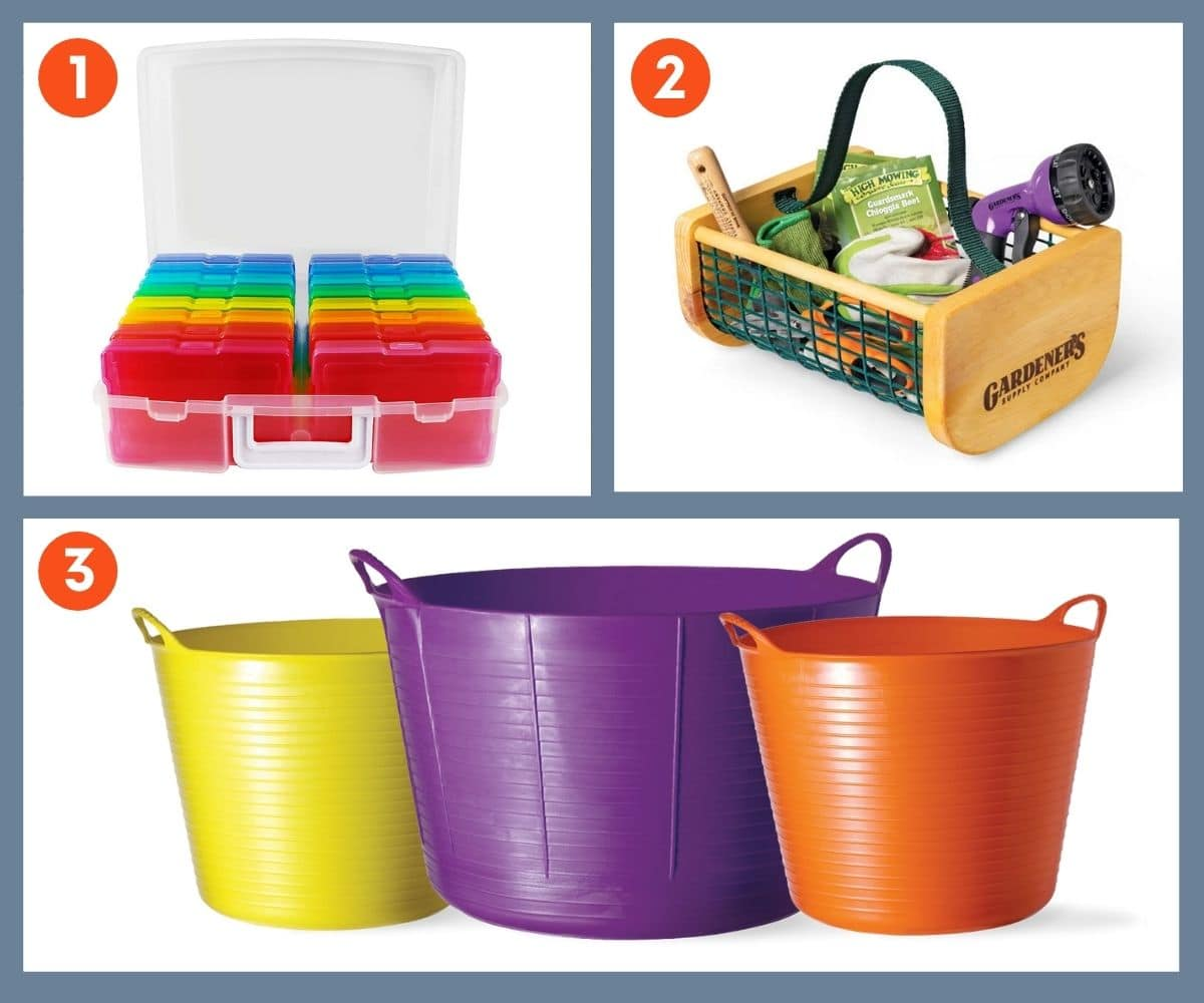 Collage of three garden storage gift ideas including a carrying basket from Gardener's Supply Company.
