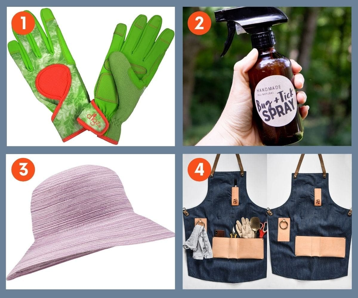 Collage of four gifts for a gardener to wear including gloves, a hat, an apron, and homemade bug and tick spray.