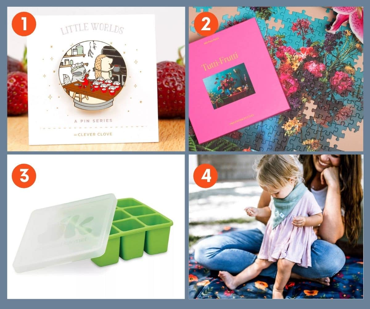 Collage of four gift ideas for gardeners including a colorful flower puzzle.