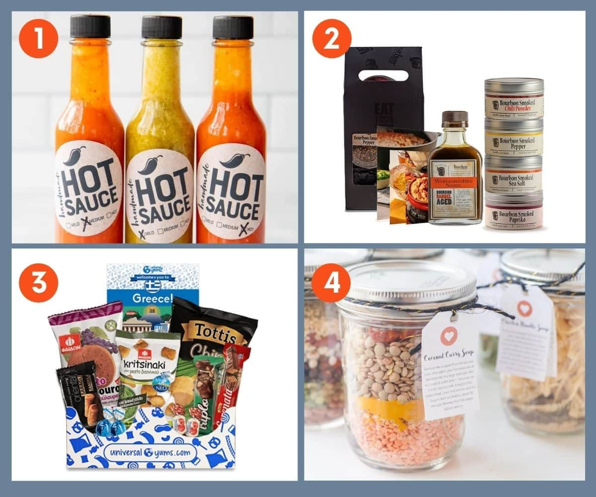 Collage of four gift sets for foodies including homemade soups in a jar.