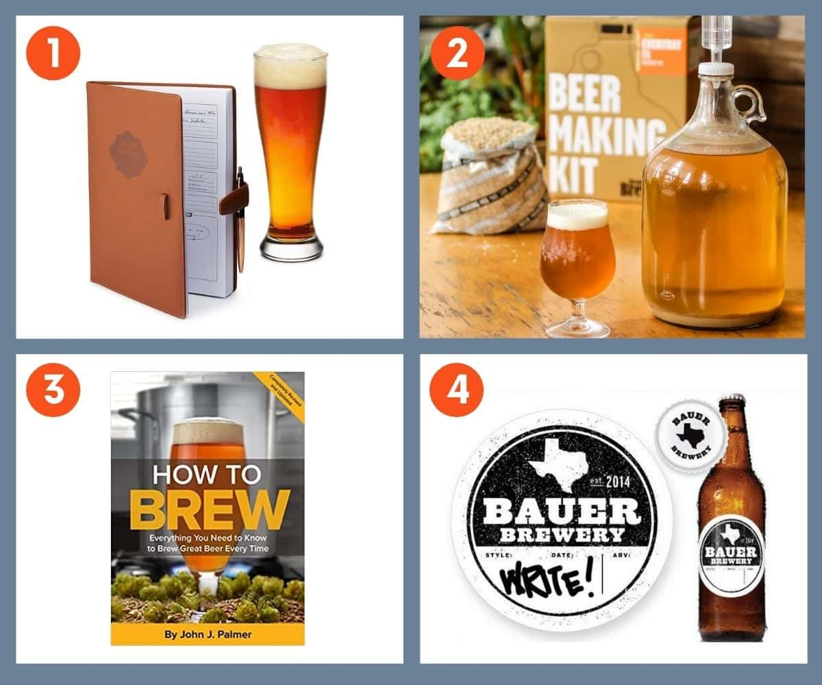 Collage of four gift ideas for the home brewer including a beer making kit, a beer brewing journal, and the book How to Brew by John J. Palmer.