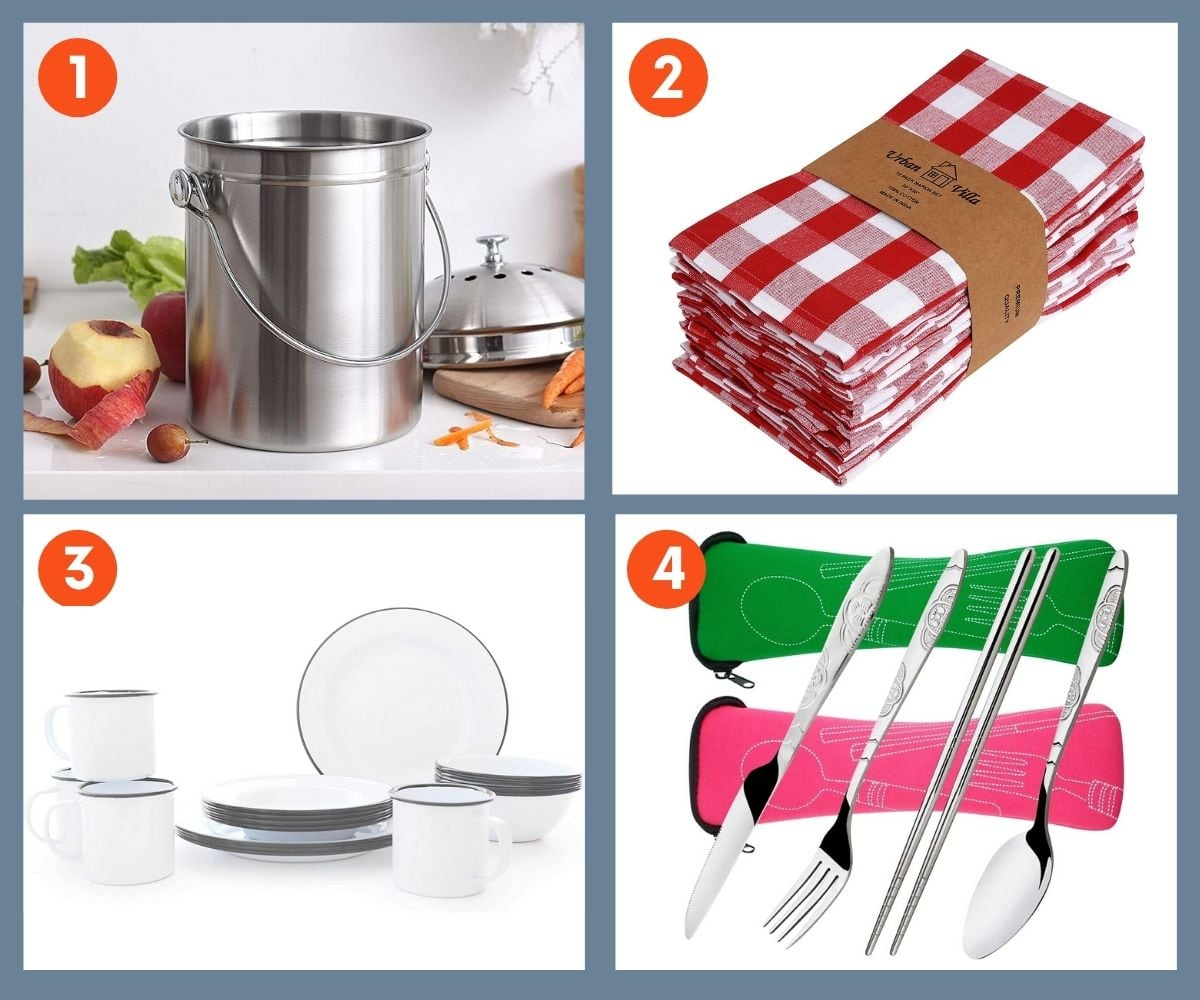 Collage of four green kitchen gift ideas including cloth napkins and stainless steel countertop compost bin.