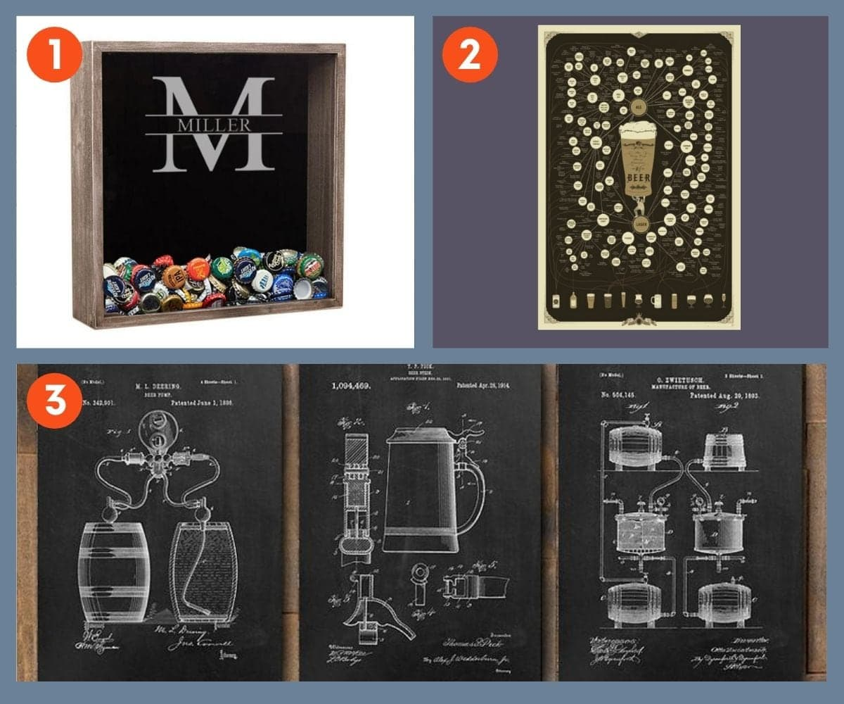 Collage of three home decor gifts for beer lovers including a poster of the many varieties of beer and black and white sketches of beer stills and steins.