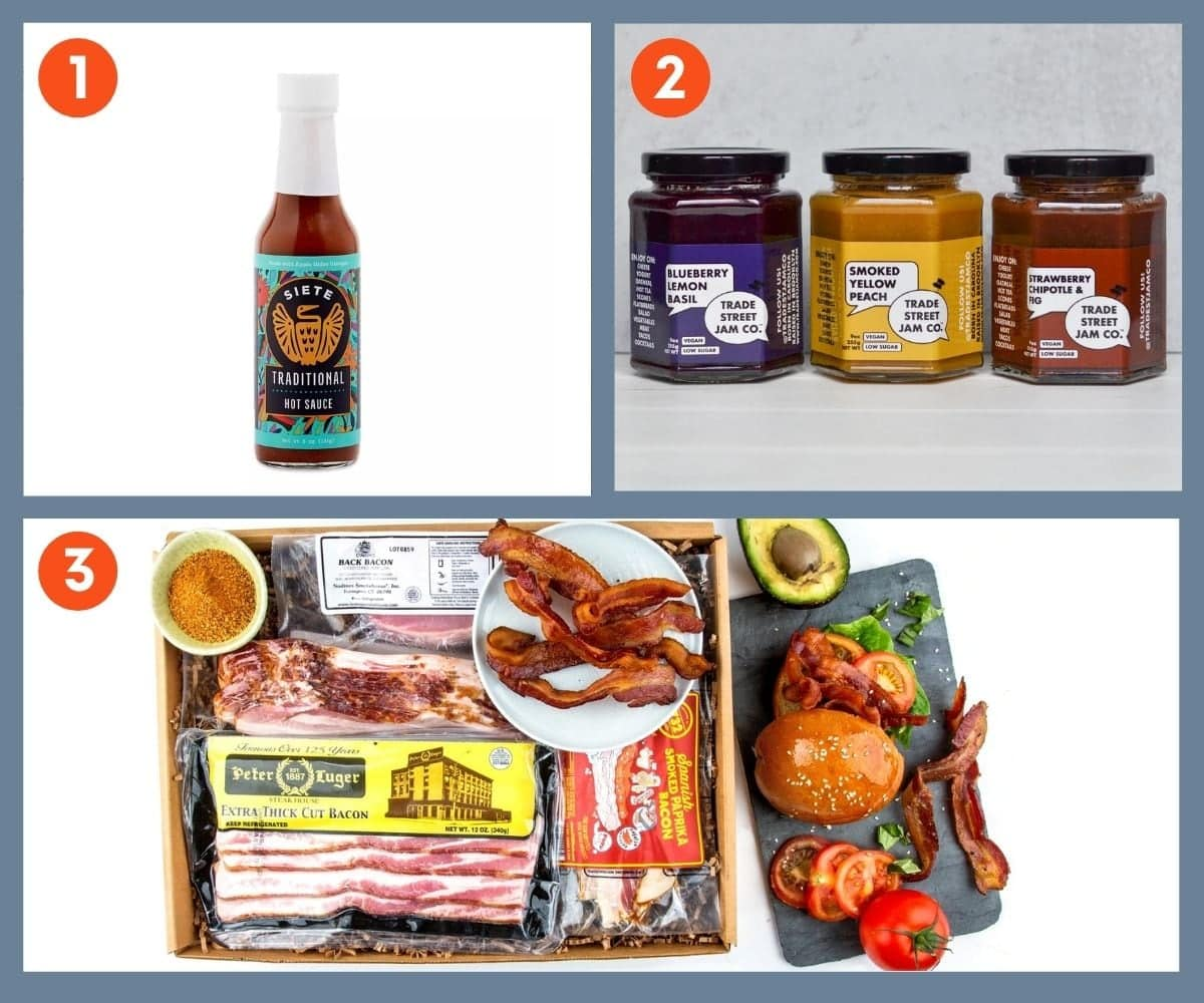 Collage of three food gift ideas including Siete Traditional Hot Sauce.