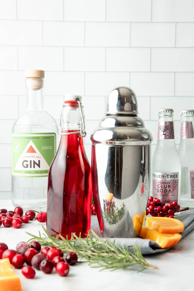 The ingredients needed to make a cranberry gin fizz sit beside a cocktail shaker.