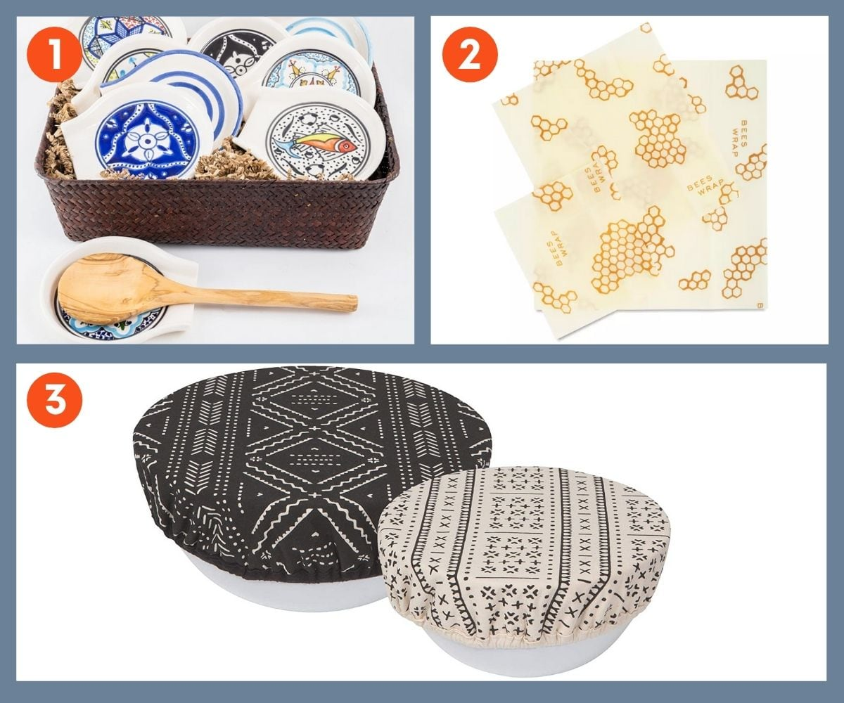 Collage of three stocking stuffer gift ideas for foodies including cloth bowl covers and beeswax wraps.