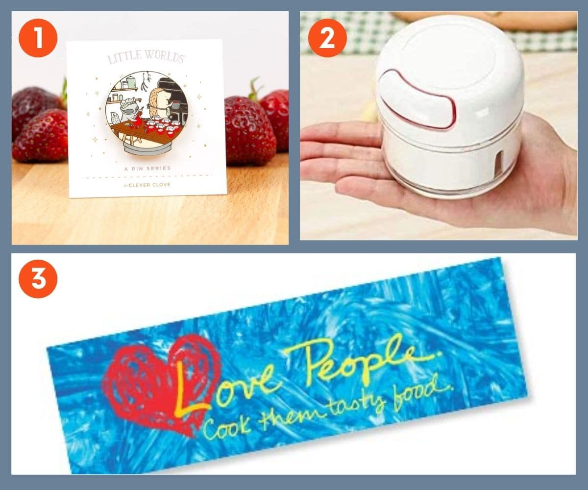 Collage of three stocking stuffers for foodies including a decorative jam making pin.