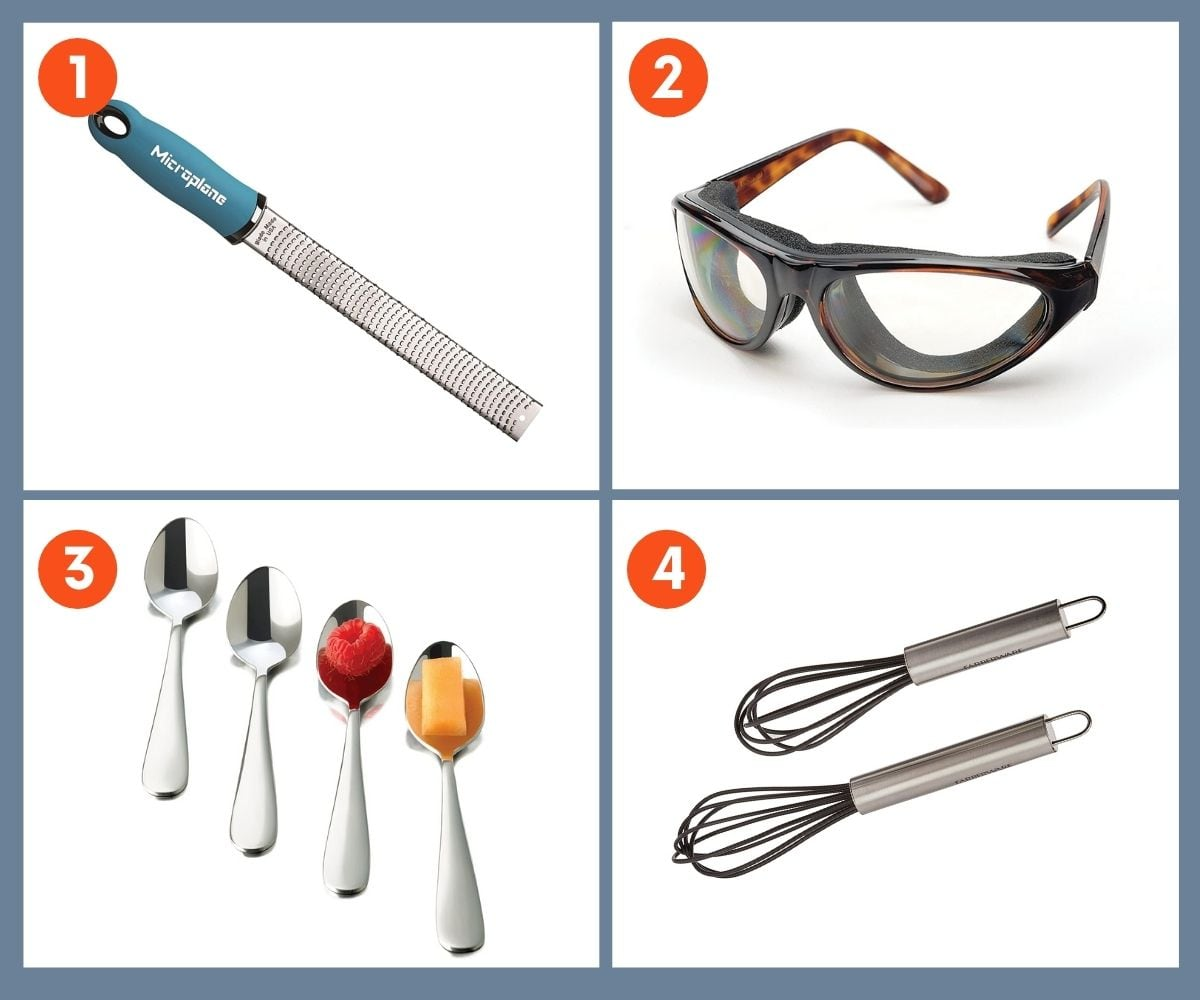 A collage of four gift ideas to fill a foodie's stocking including a microplane and dessert spoons.