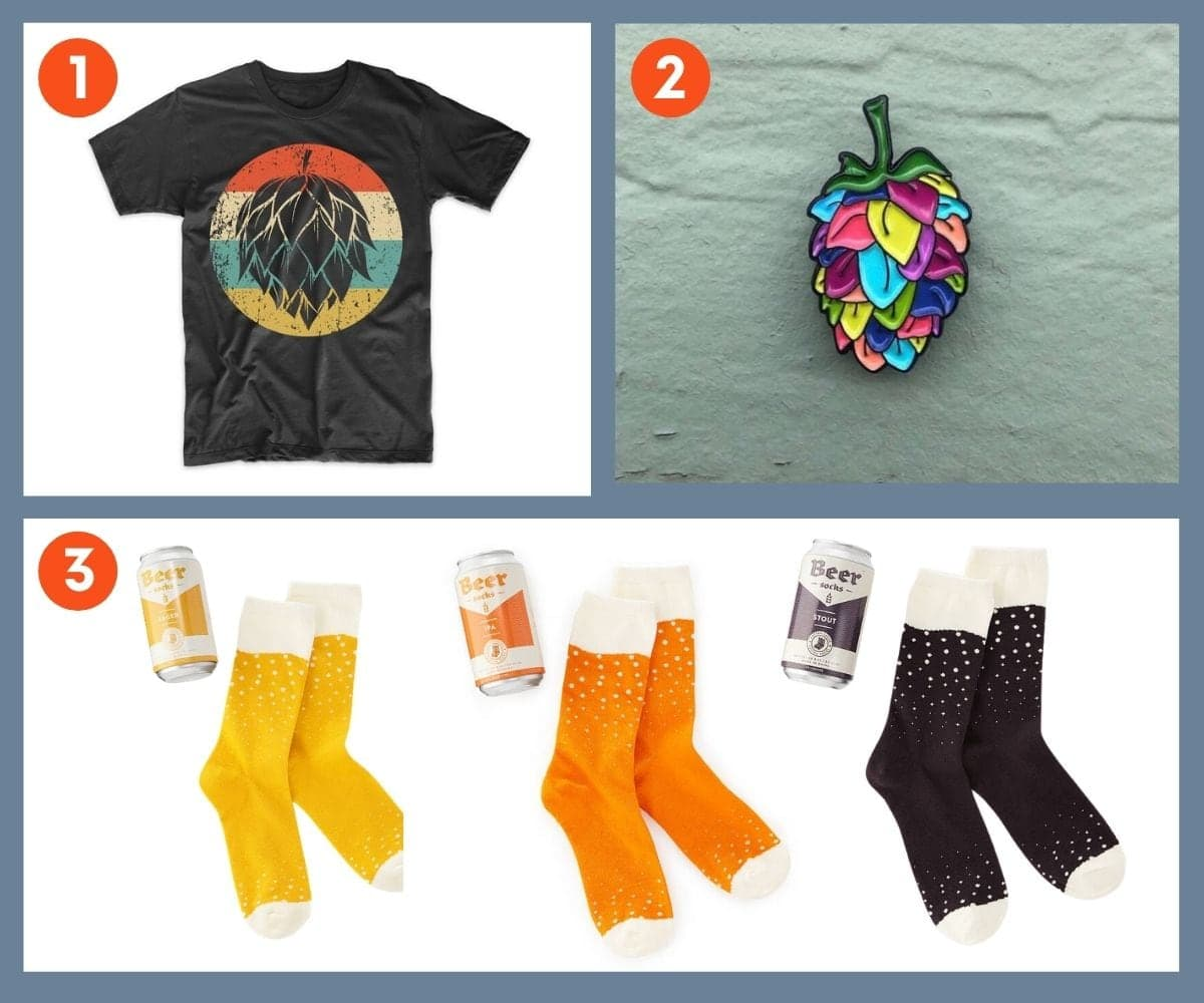 Collage of three stocking stuffer ideas for beer lovers including beer socks and a colorful hop pin.