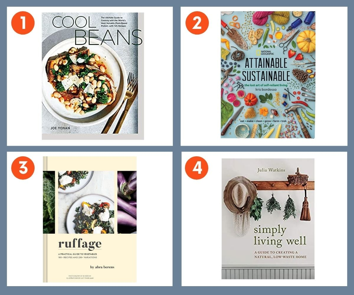Collage of four books for sustainable living including Attainable Sustainable and Simply Living Well.