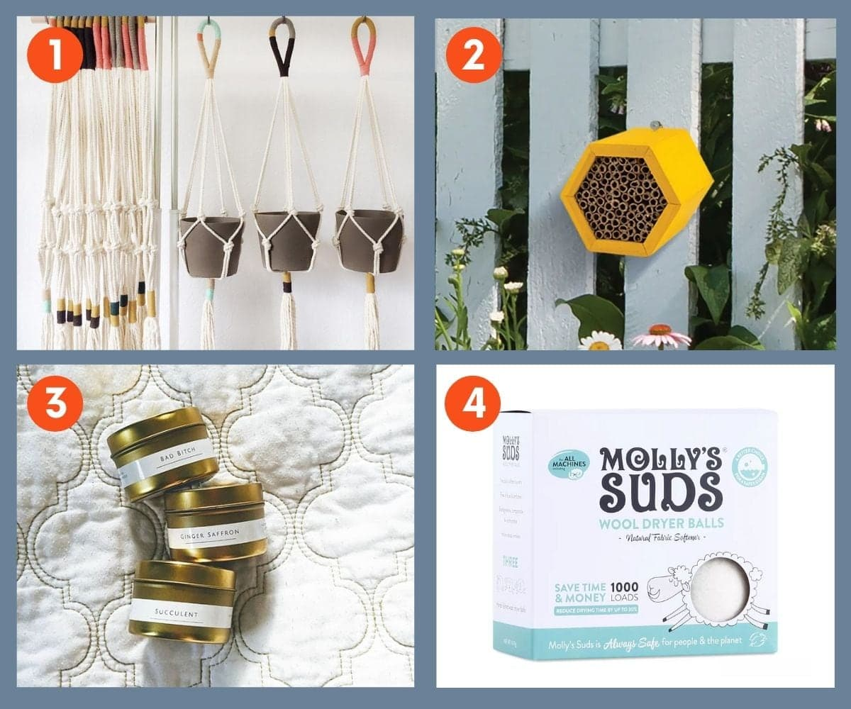 Collage of four home and garden gifts including Molly's Suds Wool Dryer Balls and braided plant hangers.