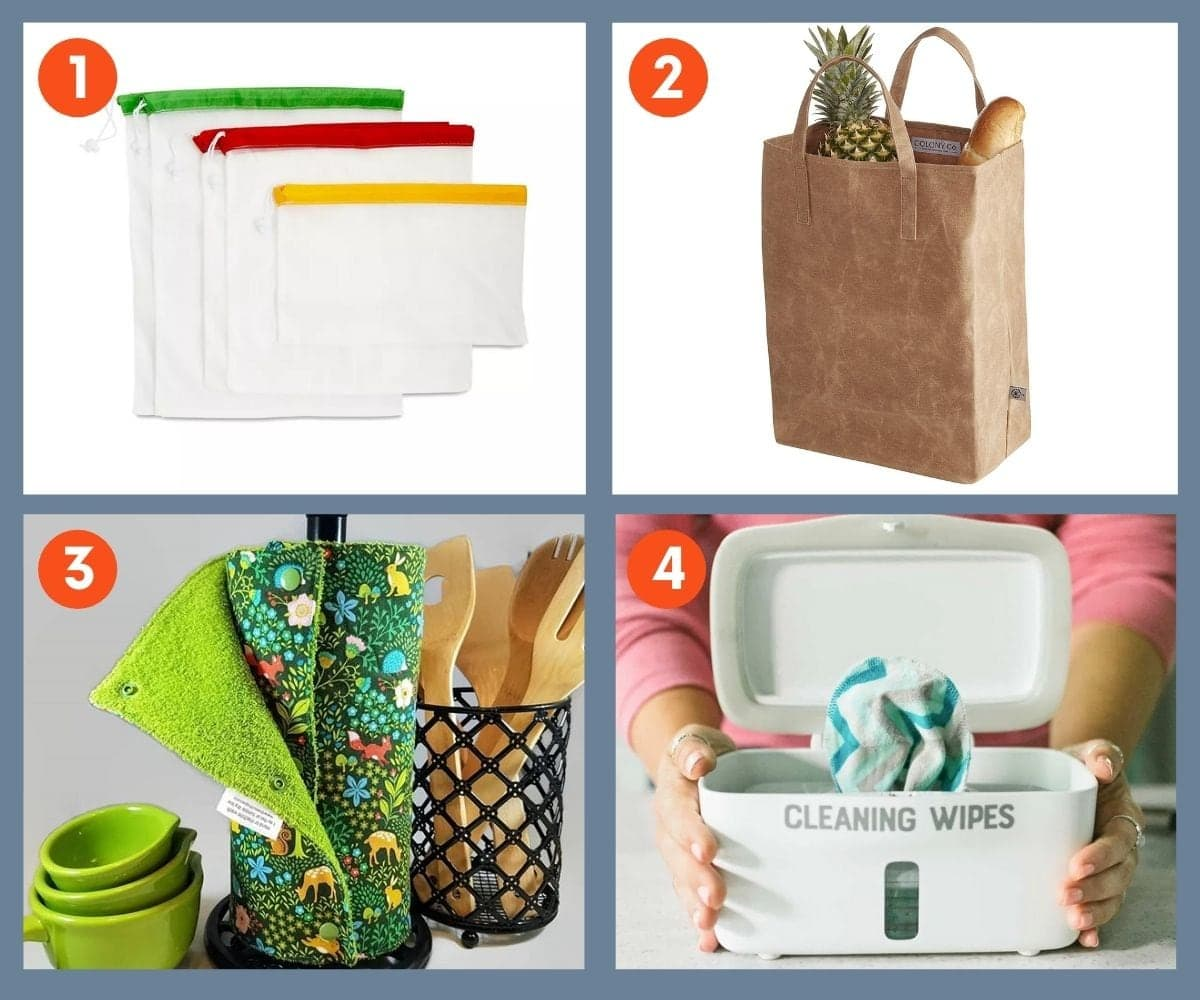Collage of four sustainable home gifts including cloth produce bags and reusable cleaning wipes.