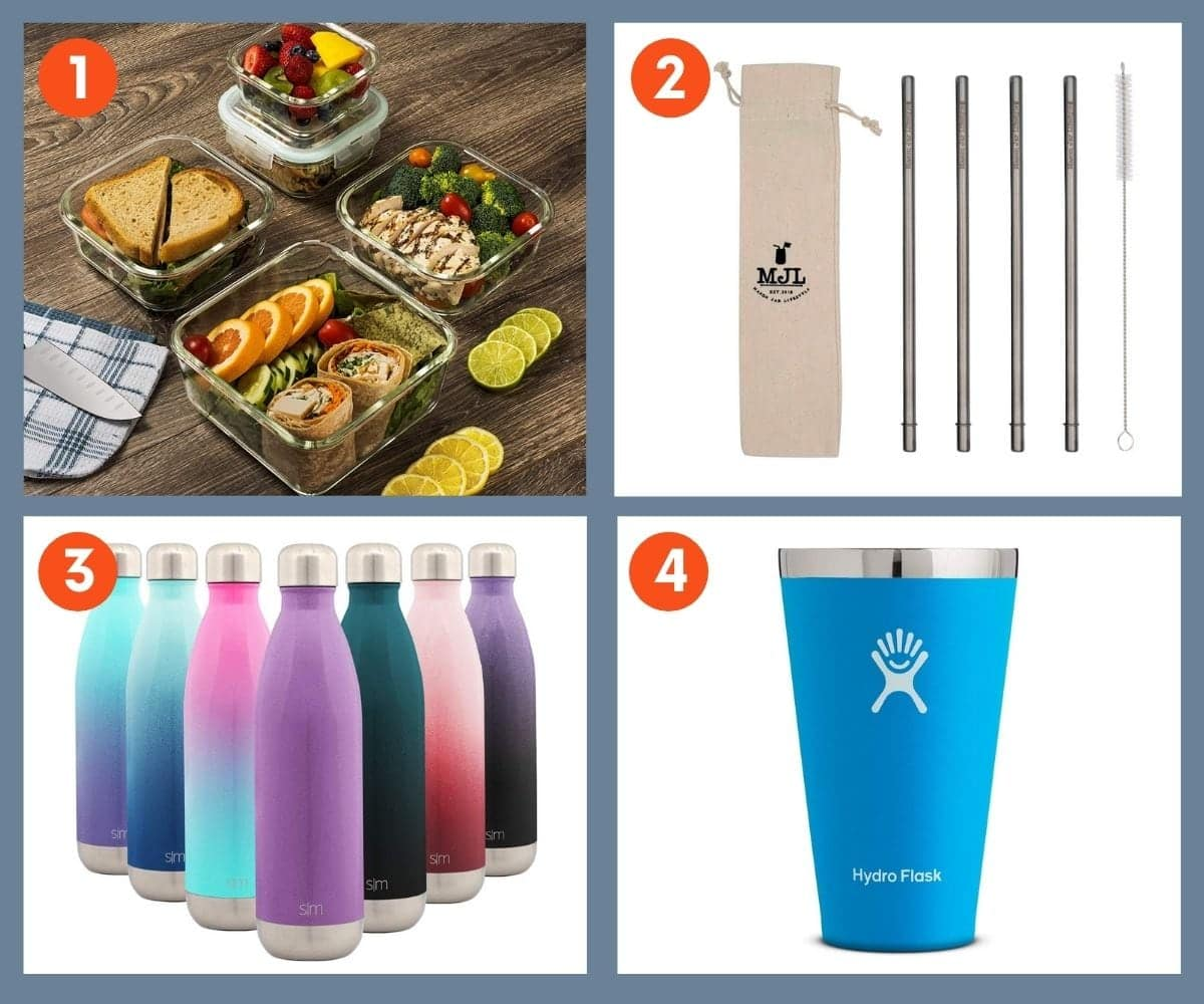 Collage of four sustainable kitchen gifts including glass storage containers and reusable silicone straws.