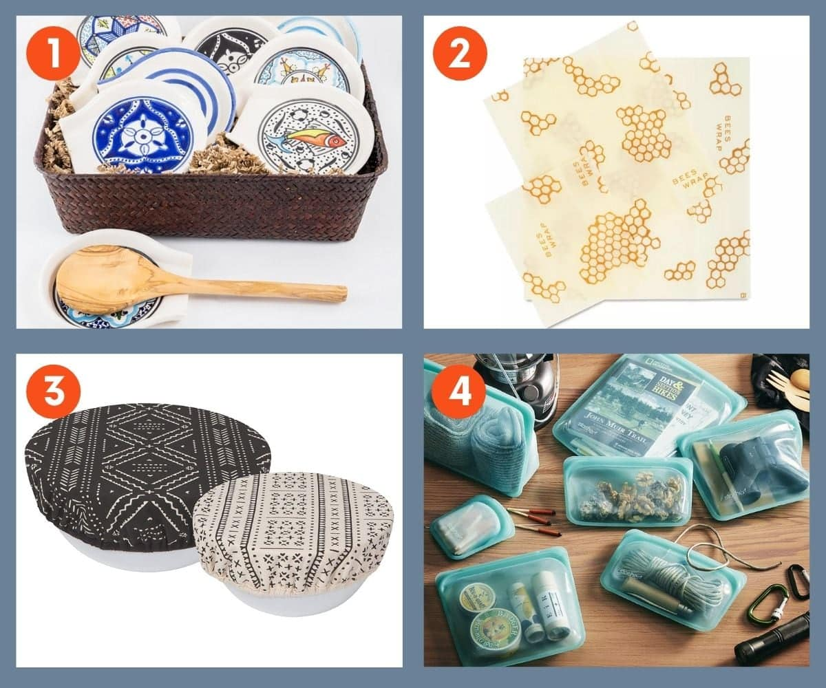 Collage of four sustainable kitchen gift ideas including cloth bowl covers, silicone bags, and beeswax wraps.