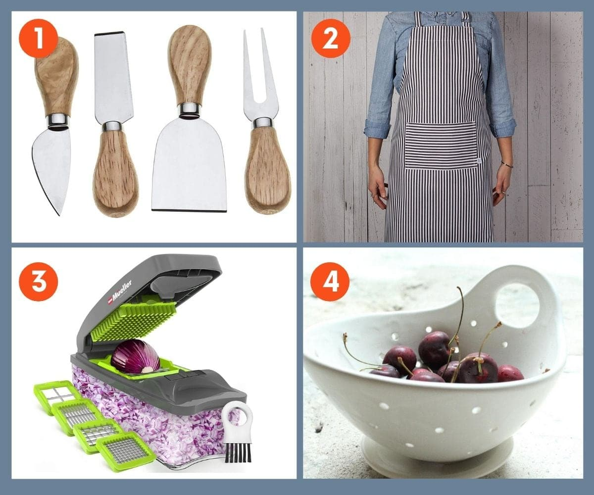 Collage of four kitchen tools such as a set of cheese knives, a fruit and vegetable chopper, and an apron.