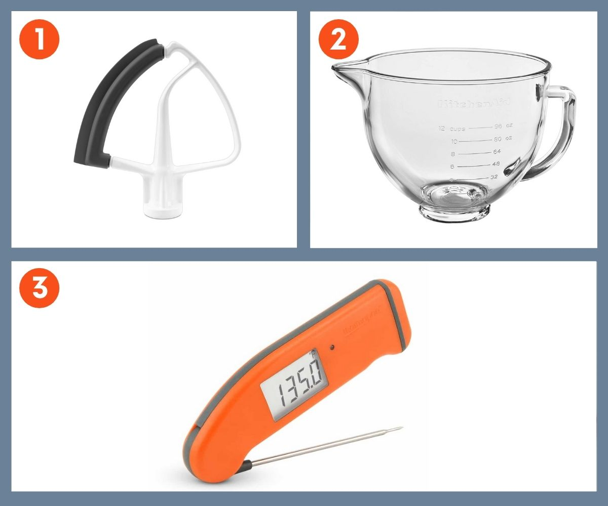 Collage of three tools for baking including a digital thermometer and a paddle attachment for a stand mixer with a bowl scraper.