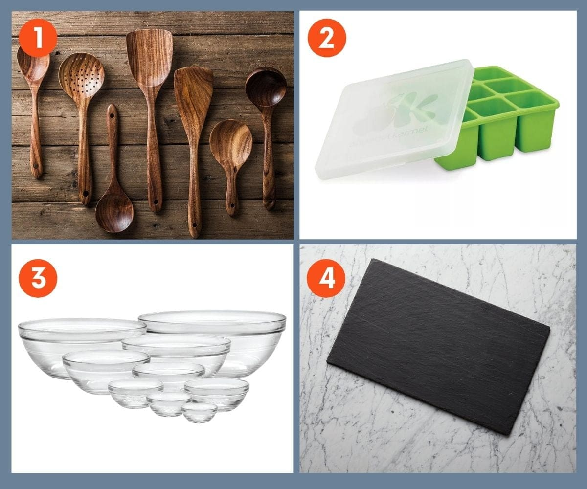 Collage of four kitchen gifts for foodies including wooden utensils and glass bowls.