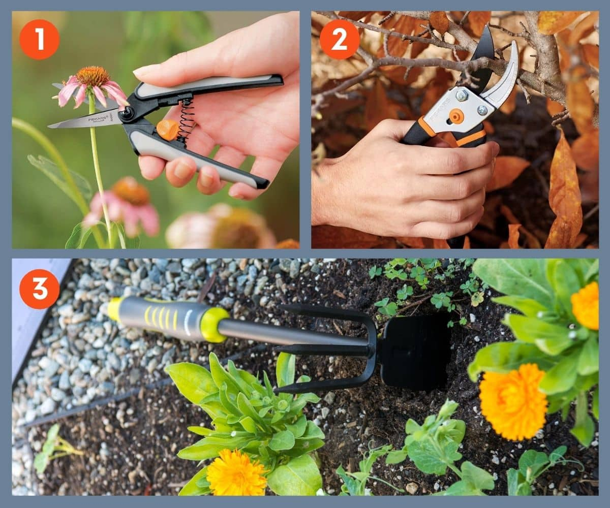 Collage of three gardening tools including pruning shears.