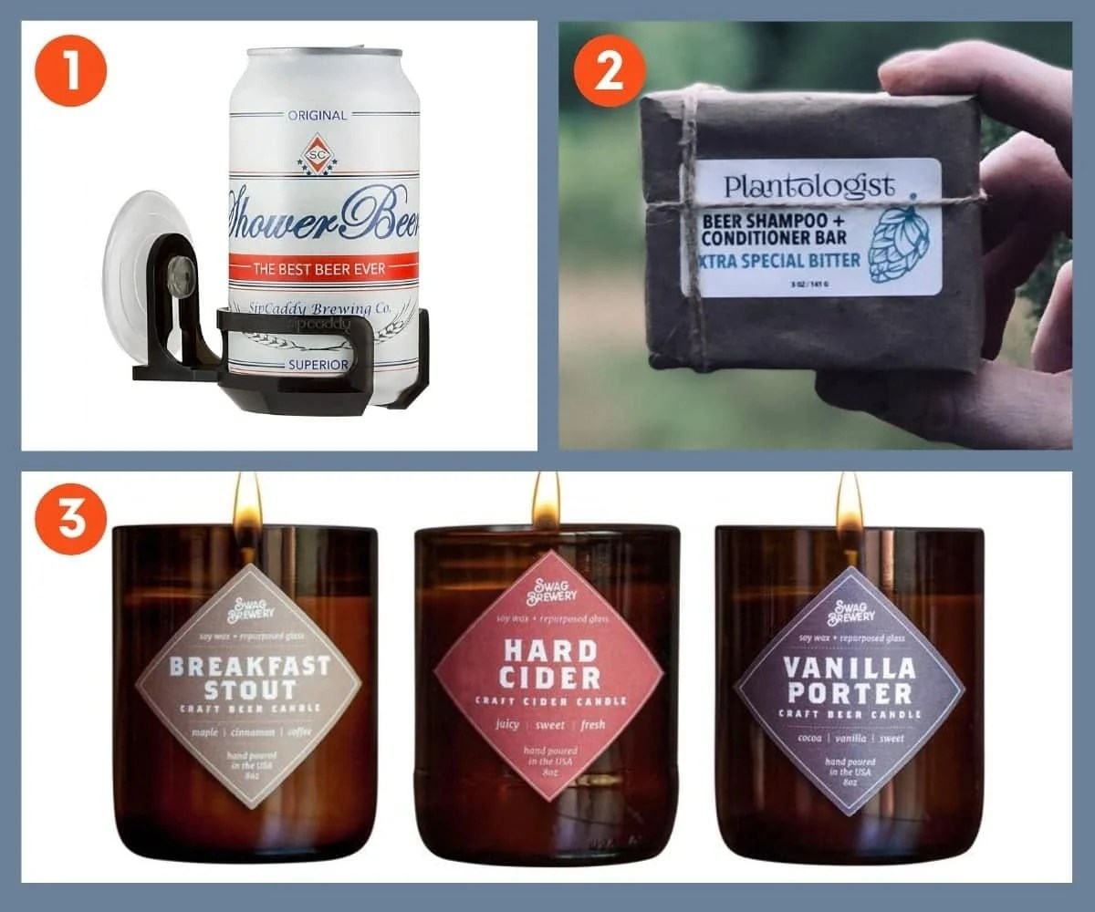 Collage of three unique gift ideas for beer lovers including Plantologist Beer Shampoo and Conditioner Bar and Swag Brewery Beer Scented Candles.