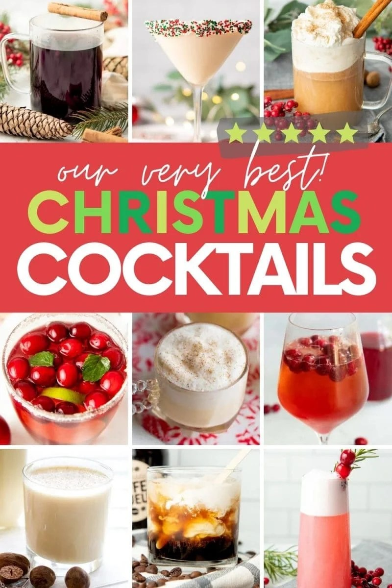 """Collage of nine holiday cocktails. A text overlay reads, """"Our very best Christmas Cocktails."""""""