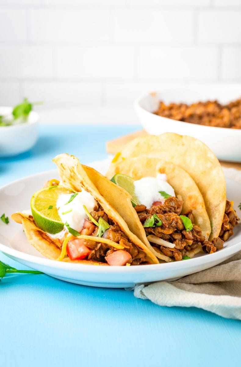 Three meatless tacos nestled together on a white plate with fresh garnishes.