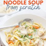 "Close-up of a bowl of homemade chicken noodle soup. A text overlay reads, ""Chicken Noodle Soup From Scratch."""