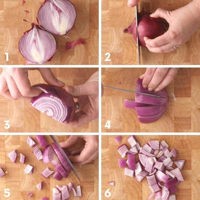 Collage of six steps for how to chop an onion.