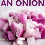 """Close-up of a pile of chopped red onion on a white marble countertop. A text overlay reads, """"Mastering Kitchen Basics. How to Cut an Onion. Mince, Dice, Chop, Slice."""""""