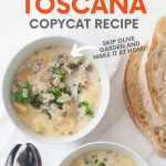 """Overhead of two bowls of finished soup with slices of bread and spoons beside them. A text overlay reads, """"Zuppa Toscana Copycat Recipe. Skip Olive Garden and Make It At Home!"""""""