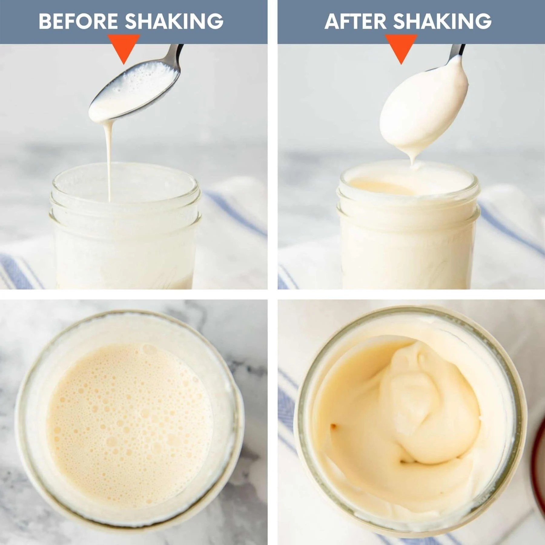 A split image shows what mason jar ice cream should look like before and after shaking.