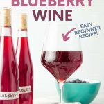 """A stemmed wine glass filled with chilled blueberry wine stands surrounded by fresh blueberries and two bottles of homemade wine. A text overlay reads, """"Homemade Blueberry Wine. Easy Beginner Recipe!"""""""