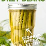 """A jar of pickled dilly beans sits on a tea towel on top of a wooden cutting board. Fresh dill and additional beans are around the jar. A text overlay reads """"How to Can Dilly Beans. Beginner Friendly Recipe!"""""""