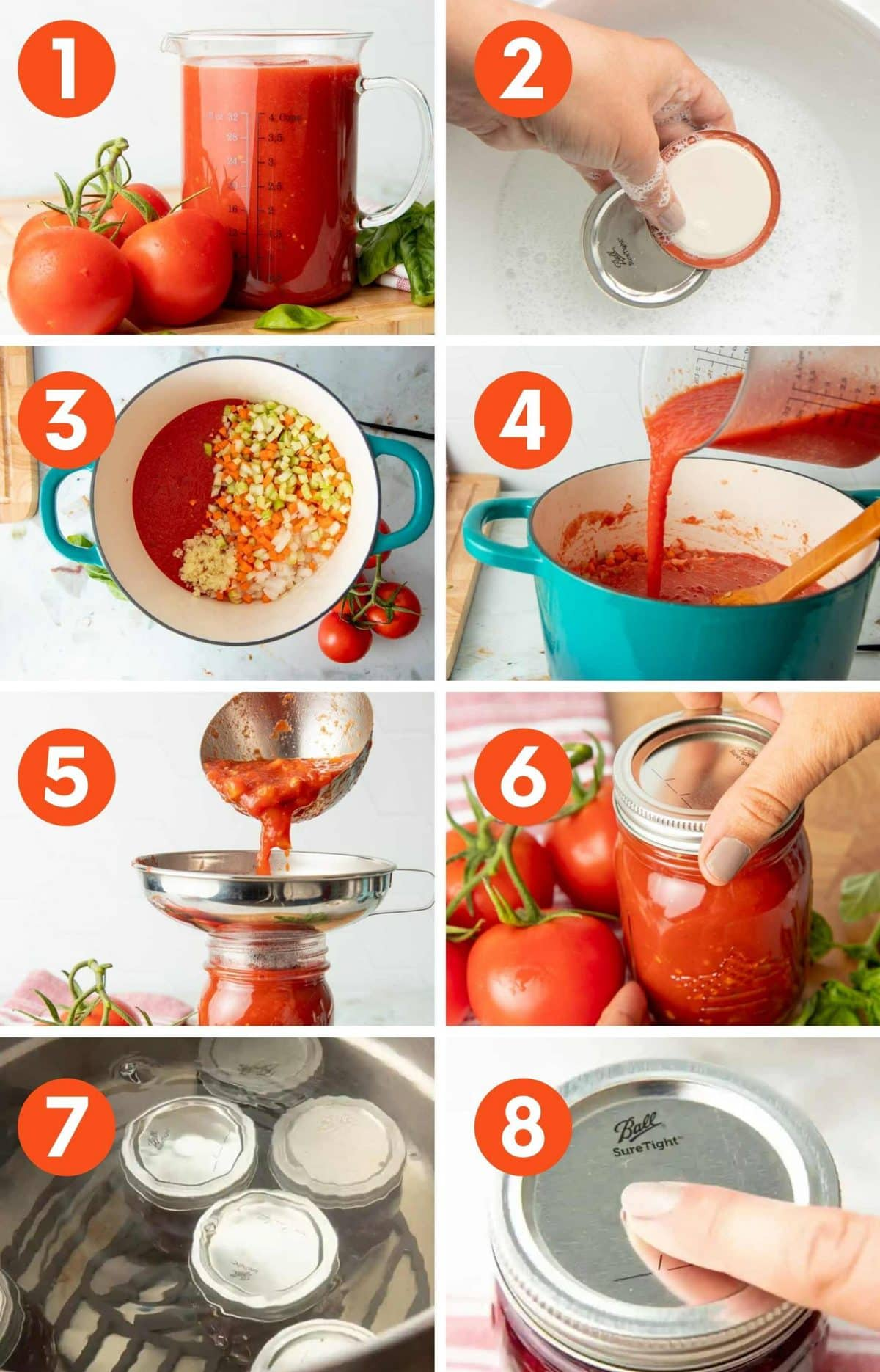 Collage of images showing the steps for canning spaghetti sauce