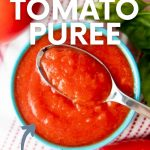 """Overhead of a bowl of fresh tomato puree with a spoonful on top. A text overlay reads, """"How to Make & Use Tomato Puree, From Fresh or Canned Tomatoes."""""""