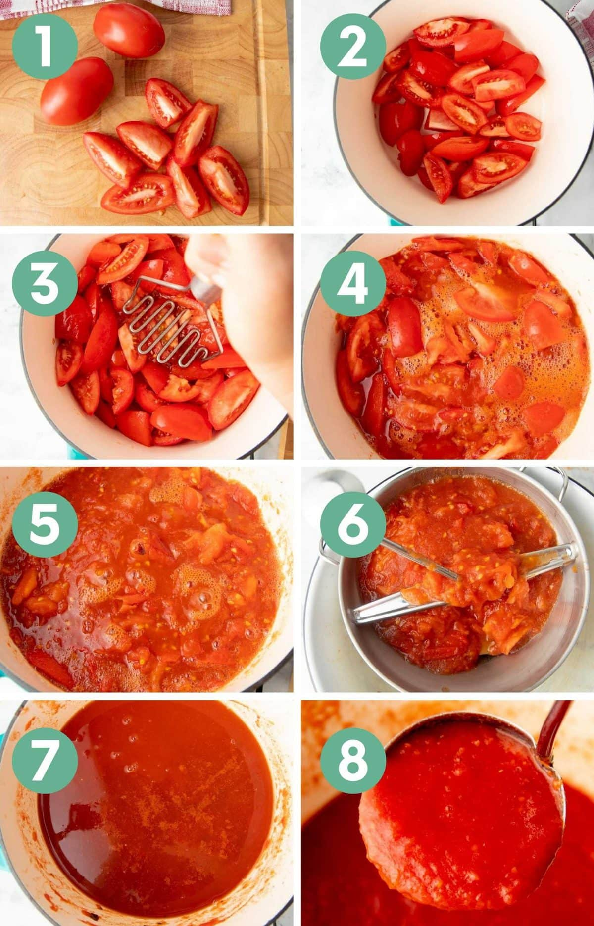 A collage of numbered images show the steps for making canned tomato sauce