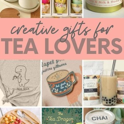 """A collage of images showing gifts for tea lovers, including tea-scented candles, tea cups, and DIY tea sets. A text overlay reads """"Creative Gifts for Tea Lovers"""""""
