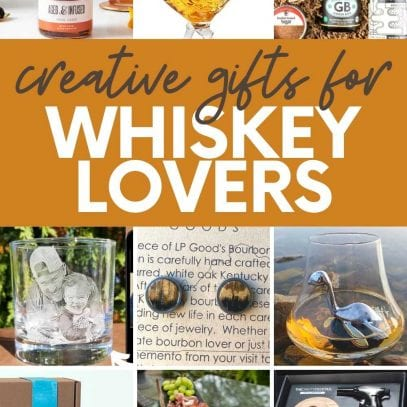 """A collage of images showing gifts for whiskey lovers, including a rooster decanter, a smoking kit, and bourbon-infused foods. A text overlay reads """"Creative Gifts for Whiskey Lovers"""""""